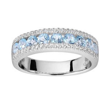 Oro Leoni Sterling Silver Blue & White Topaz Ring - Made with Genuine Swarovski Gemstones