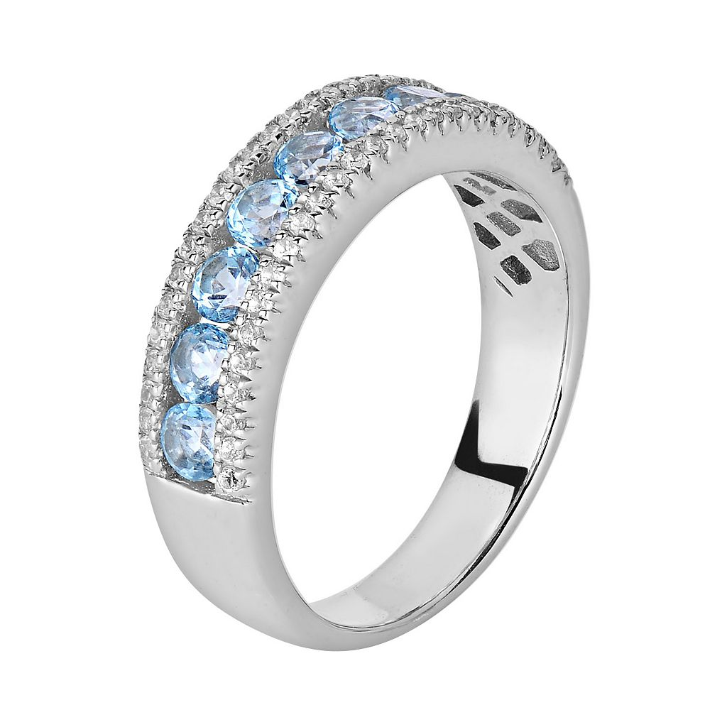 Oro Leoni Sterling Silver Blue and White Topaz Ring - Made with Genuine Swarovski Gemstones