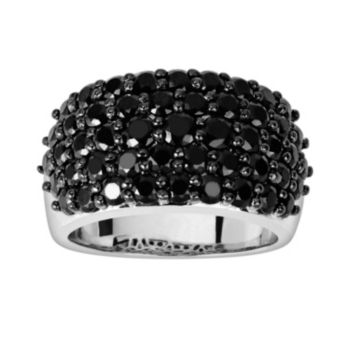 Oro Leoni Sterling Silver Black Spinel Ring - Made with Genuine Swarovski Gemstones