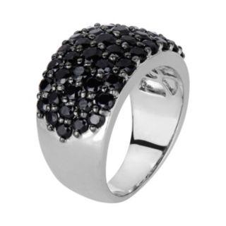Oro Leoni Sterling Silver Black Spinel Ring - Made with Genuine Swarovski Gemstones