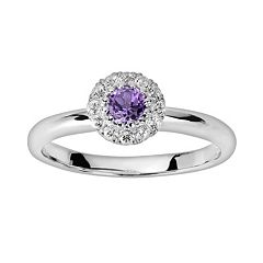 Oro Leoni Sterling Silver Amethyst & White Topaz Frame Ring - Made with Genuine Swarovski Gemstones