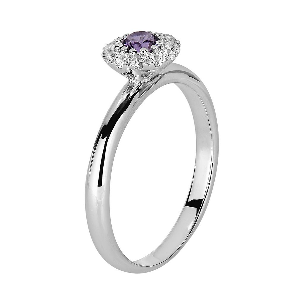 Oro Leoni Sterling Silver Amethyst and White Topaz Frame Ring - Made with Genuine Swarovski Gemstones