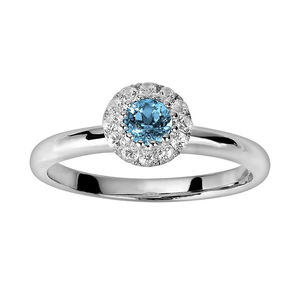 Oro Leoni Sterling Silver Blue & White Topaz Frame Ring - Made with Genuine Swarovski Gemstones
