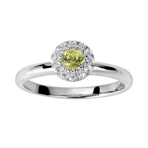 Oro Leoni Sterling Silver Peridot & White Topaz Frame Ring - Made with Genuine Swarovski Gemstones