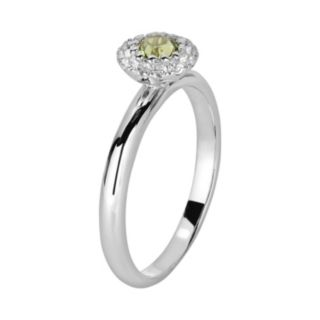 Oro Leoni Sterling Silver Peridot and White Topaz Frame Ring - Made with Genuine Swarovski Gemstones