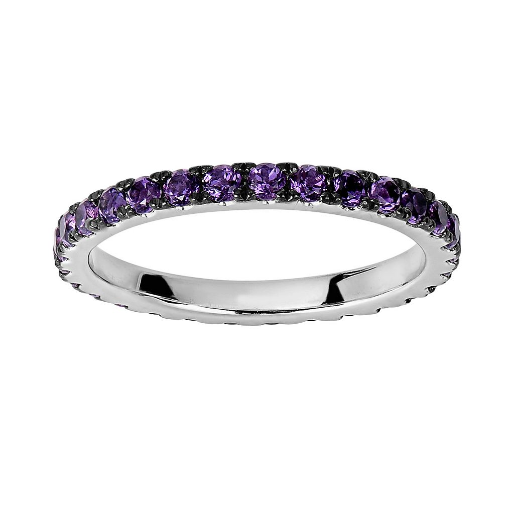 Oro Leoni Sterling Silver Amethyst Eternity Ring - Made with Genuine Swarovski Gemstones