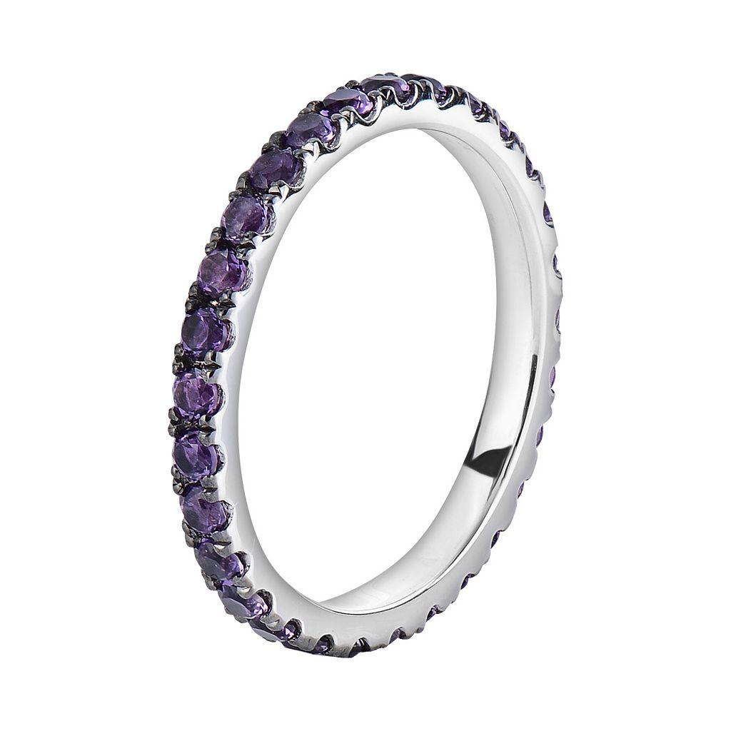 Oro Leoni Sterling Silver Amethyst Eternity Ring - Made with Genuine Swarovski Gemstones