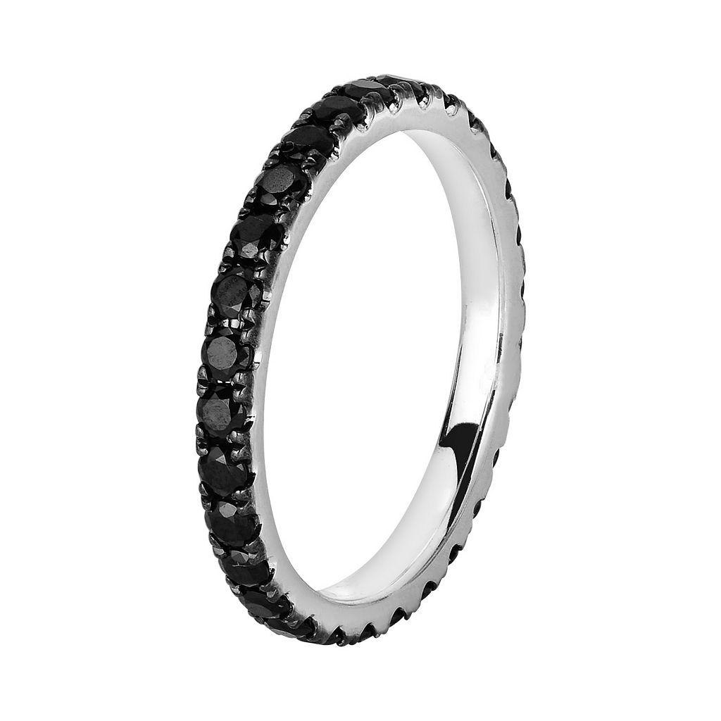 Oro Leoni Sterling Silver Black Spinel Eternity Ring - Made with Genuine Swarovski Gemstones