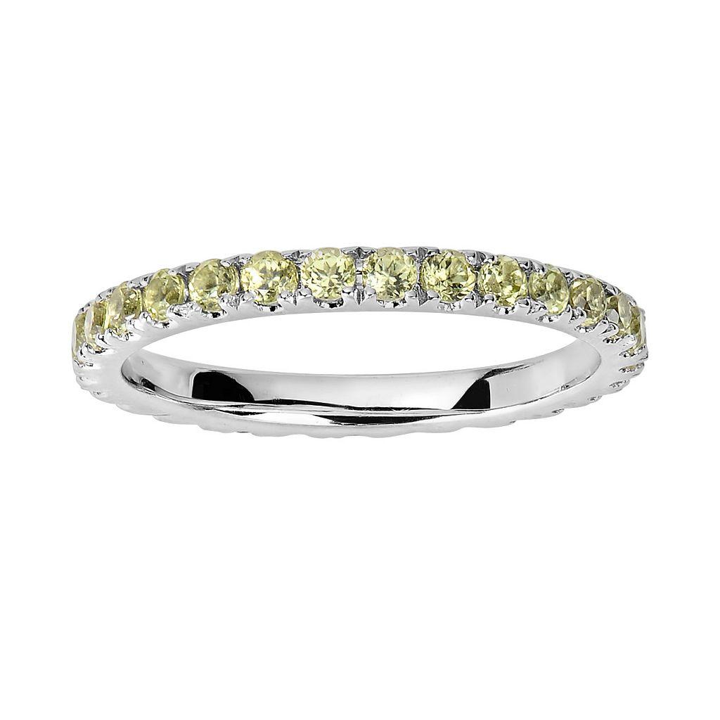 Oro Leoni Sterling Silver Peridot Eternity Ring - Made with Genuine Swarovski Gemstones