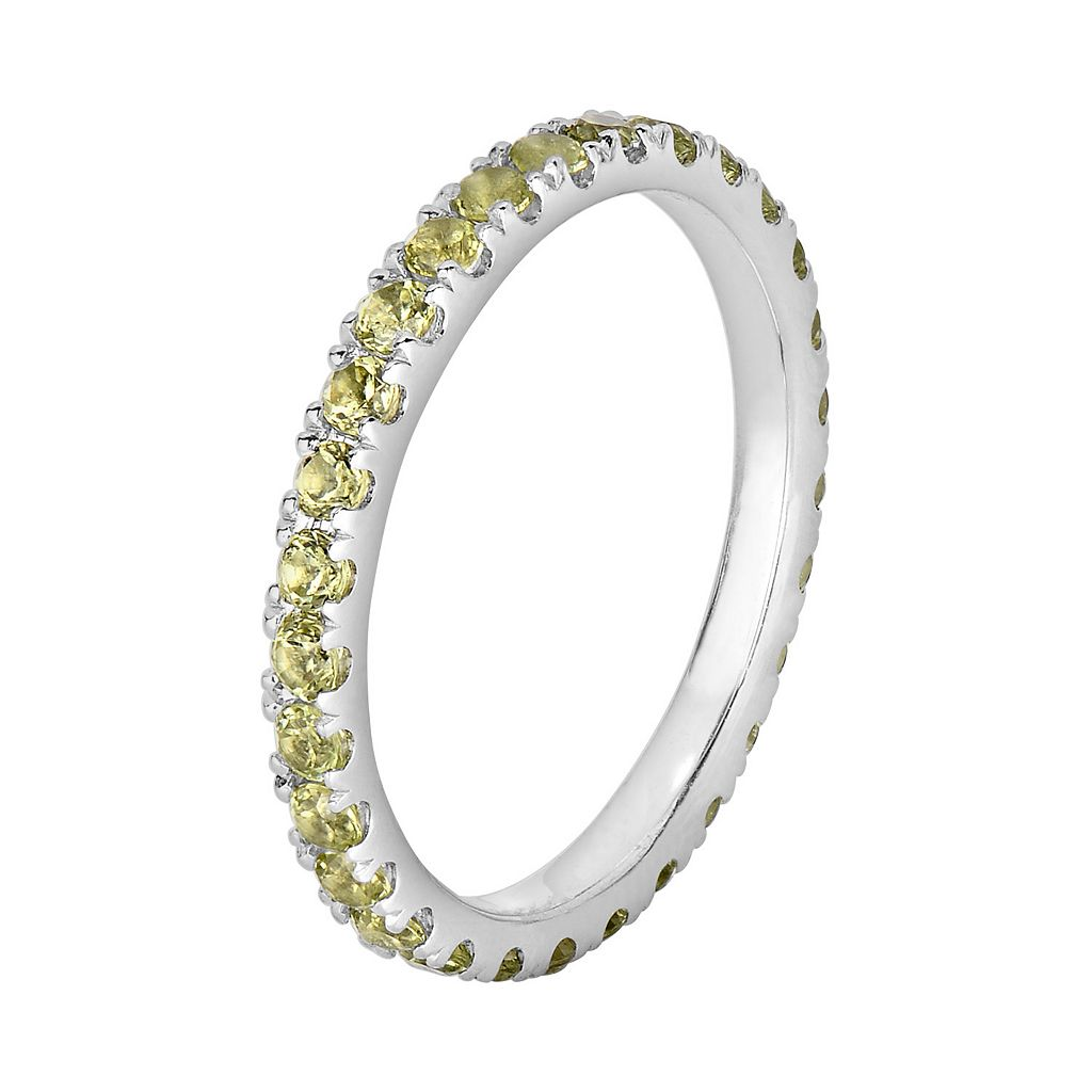 Oro Leoni Sterling Silver Peridot Eternity Ring - Made with Genuine Swarovski Gemstones