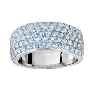 Oro Leoni Sterling Silver Blue Topaz Ring - Made with Genuine Swarovski Gemstones