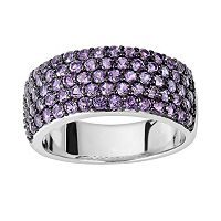 Oro Leoni Sterling Silver Amethyst Ring - Made with Genuine Swarovski Gemstones