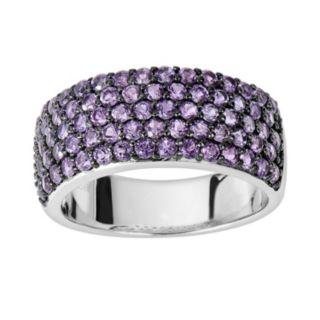 Oro Leoni Sterling Silver Amethyst Ring - Made with Genuine Swarovski Gemstones
