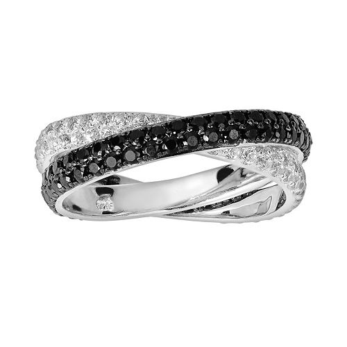 Oro Leoni Sterling Silver Black Spinel & White Topaz Ring - Made with Genuine Swarovski Gemstones