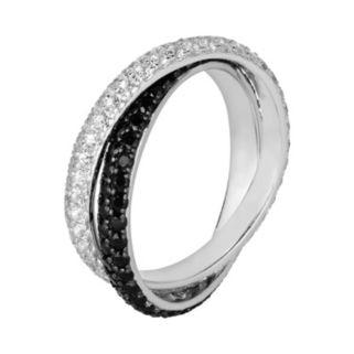 Oro Leoni Sterling Silver Black Spinel and White Topaz Ring - Made with Genuine Swarovski Gemstones