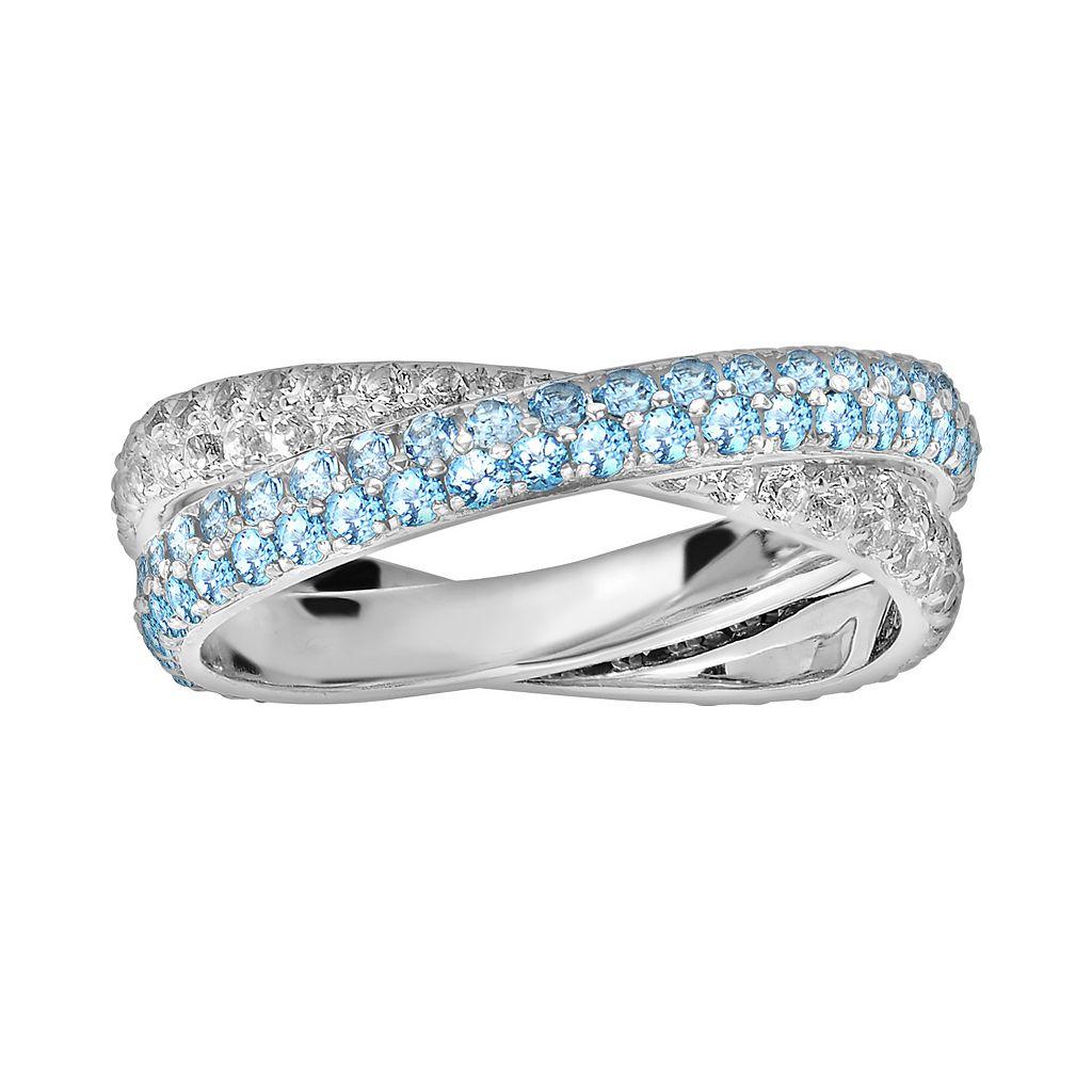 Oro Leoni Sterling Silver Blue & White Topaz Crisscross Ring - Made with Genuine Swarovski Gemstones