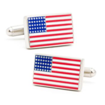 Gold American Flag Cuff Links