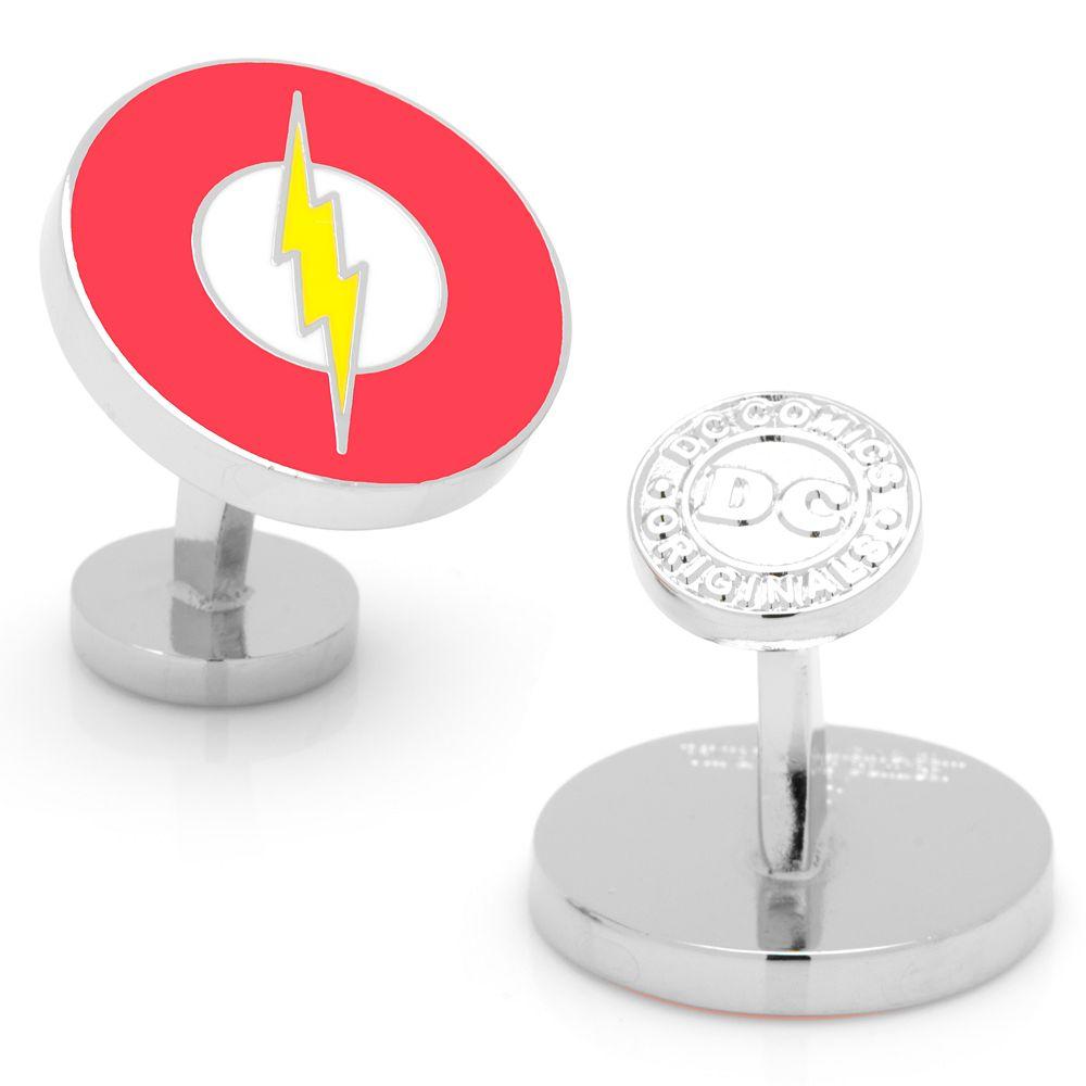 Flash Logo Rhodium-Plated Cuff Links