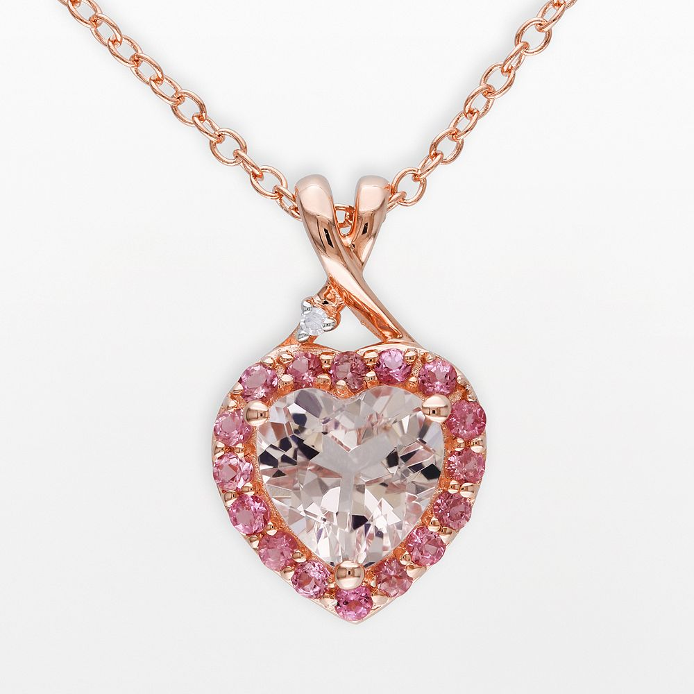 Pink Rhodium-Plated Sterling Silver Morganite, Tourmaline & Diamond Accent Heart Frame Pendant
