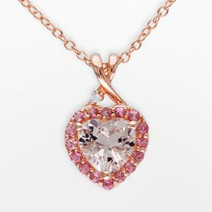 Pink Rhodium-Plated Sterling Silver Morganite, Tourmaline and Diamond Accent Heart Frame Pendant