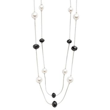 Silver Tone Simulated Pearl & Bead Long Multistrand Necklace