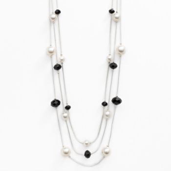 Silver Tone Simulated Pearl and Bead Multistrand Necklace