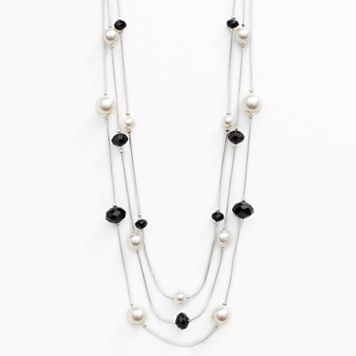 Silver Tone Simulated Pearl & Bead Multistrand Necklace