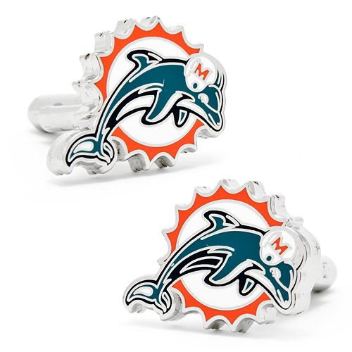 Miami Dolphins Rhodium-Plated Cuff Links