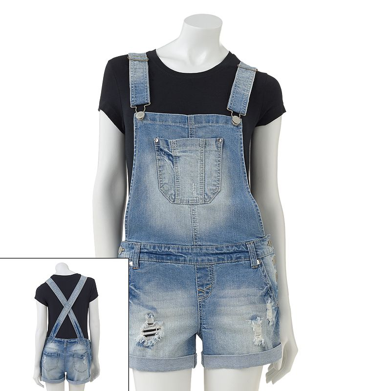 Wallflower Distressed Denim Overall Shorts - Juniors