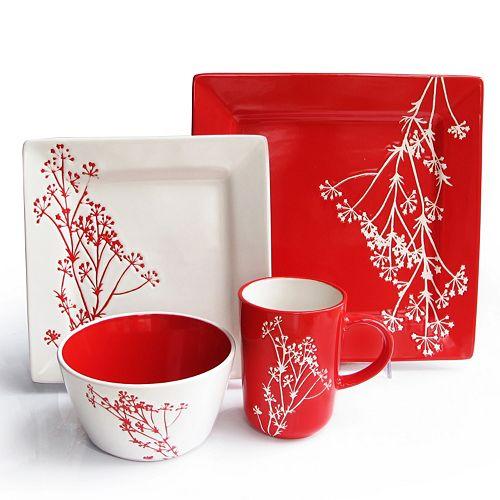 American Atelier Blossom Branch Red 16-pc. Square Dinnerware Set