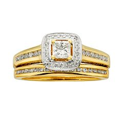 Princess-Cut IGL Certified Diamond Halo Engagement Ring Set in 14k Gold (1 ctT.W.)