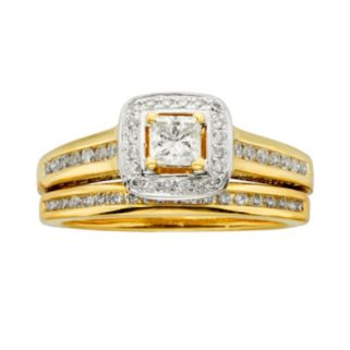 Princess-Cut IGL Certified Diamond Halo Engagement Ring Set in 14k Gold (1 ct. T.W.)