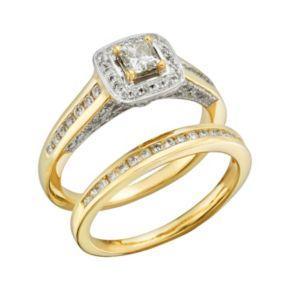 Princess-Cut IGL Certified Diamond Halo Engagement Ring Set in 14k Gold (1 ct. T.W.)