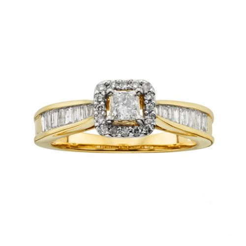Princess-Cut IGL Certified Diamond Halo Engagement Ring in 14k Gold (1 ct. T.W.)