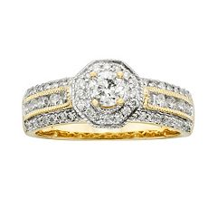 Round-Cut IGL Certified Diamond Halo Engagement Ring in 14k Gold (1 ctT.W.)