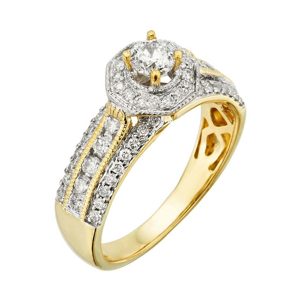 Round-Cut IGL Certified Diamond Halo Engagement Ring in 14k Gold (1 ct. T.W.)