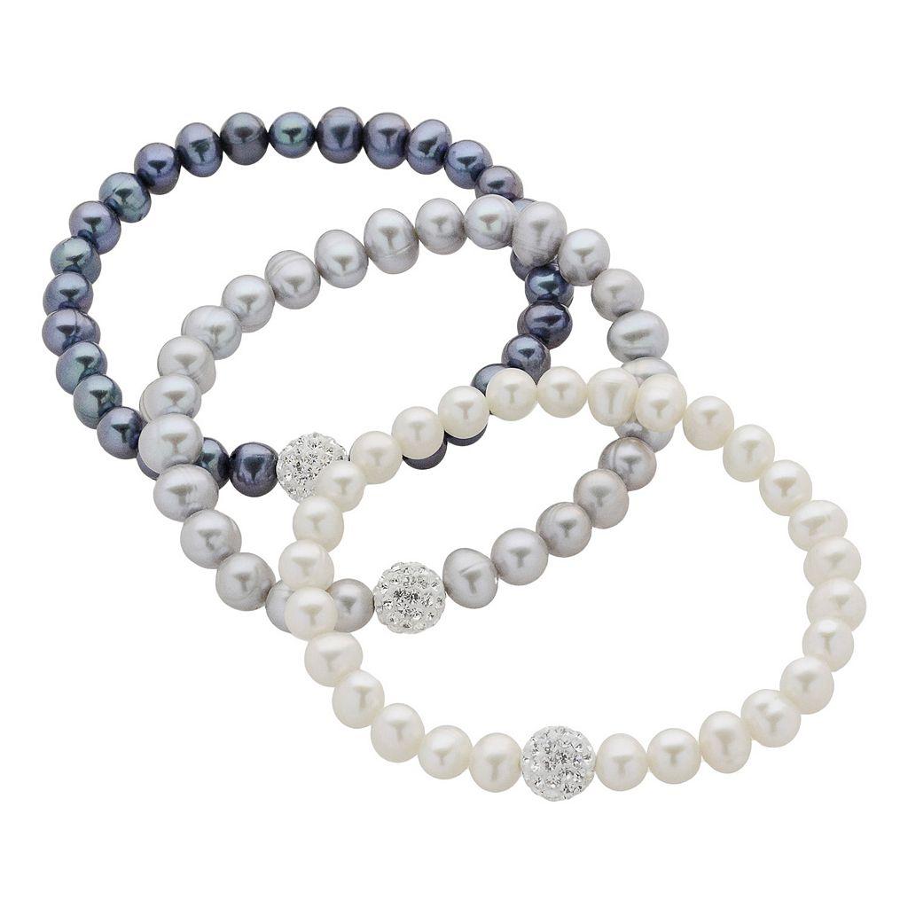 Dyed Freshwater Cultured Pearl & Crystal Stretch Bracelet Set