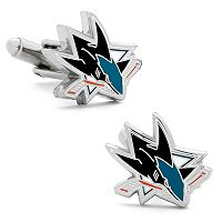 San Jose Sharks Rhodium-Plated Cuff Links