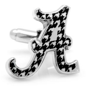 Alabama Crimson Tide Houndstooth Rhodium-Plated Cuff Links