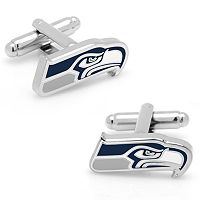 Seattle Seahawks Rhodium-Plated Cuff Links