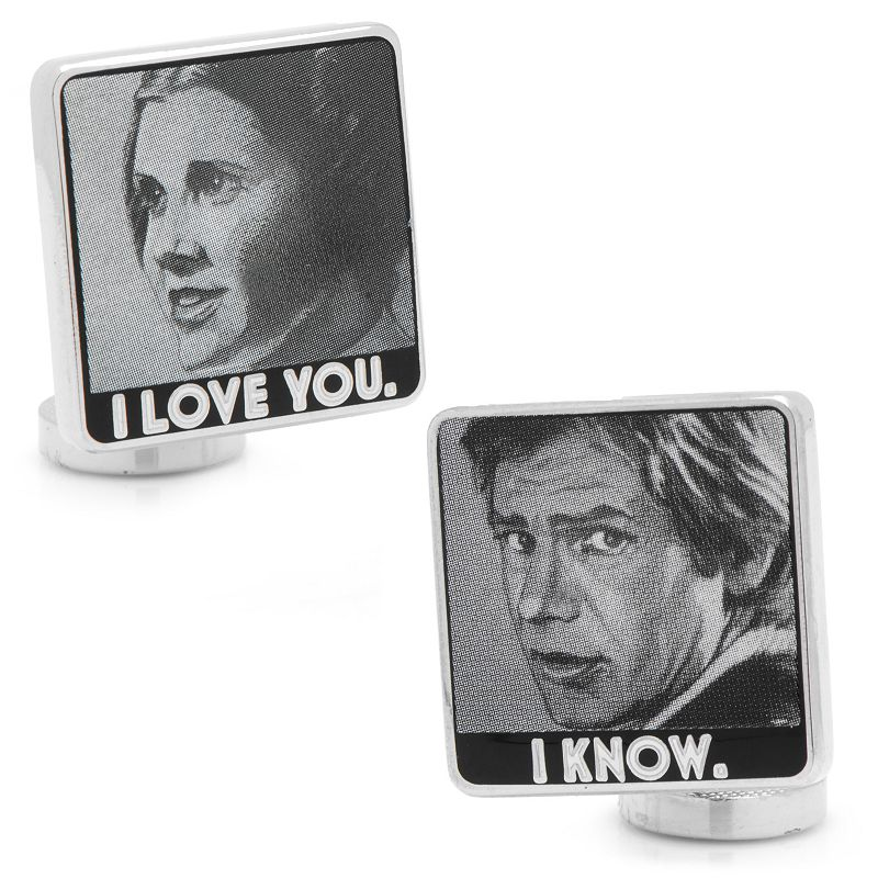 "Star Wars ""I Love You, I Know"" Silver-Plated Cuff Links, Men's, silver"