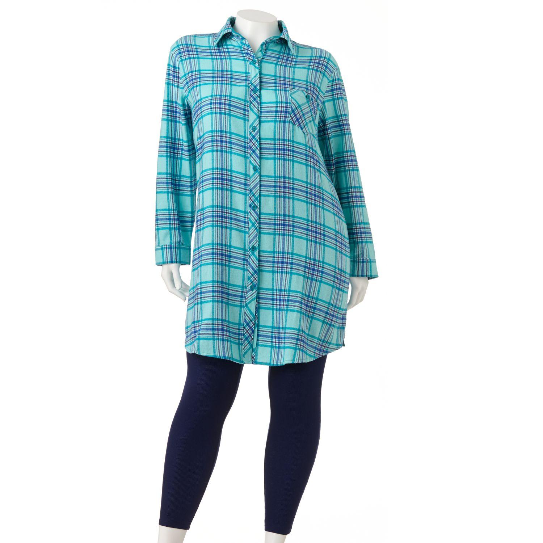 sonoma life style flannel sleep shirt leggings pajama