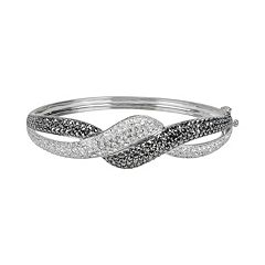 Lavish by TJM Sterling Silver Crystal Twist Bangle Bracelet - Made with Swarovski Marcasite
