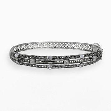 Lavish by TJM Sterling Silver Crystal Multirow Bangle Bracelet - Made with Swarovski Marcasite