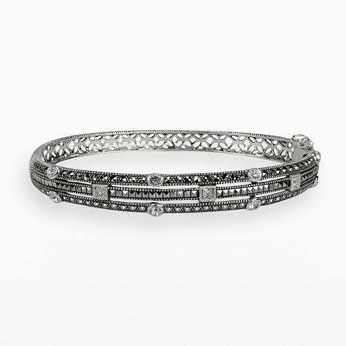 Lavish by TJM Sterling Silver Crystal Multirow Bangle Bracelet - Made with Swarovski Marcasite