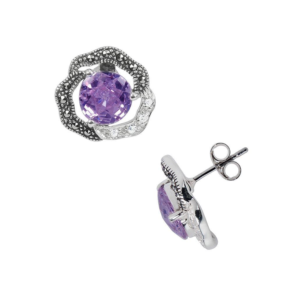 Lavish by TJM Sterling Silver Purple & White Cubic Zirconia Flower Stud Earrings - Made with Swarovski Marcasite