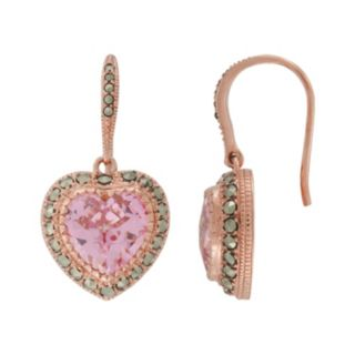 Lavish by TJM 14k Rose Gold Over Silver Pink Cubic Zirconia Heart Drop Earrings - Made with Swarovski Marcasite