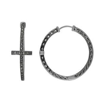 Lavish By Tjm Sterling Silver Cross Hoop Earrings Made With Swarovski Marcasite