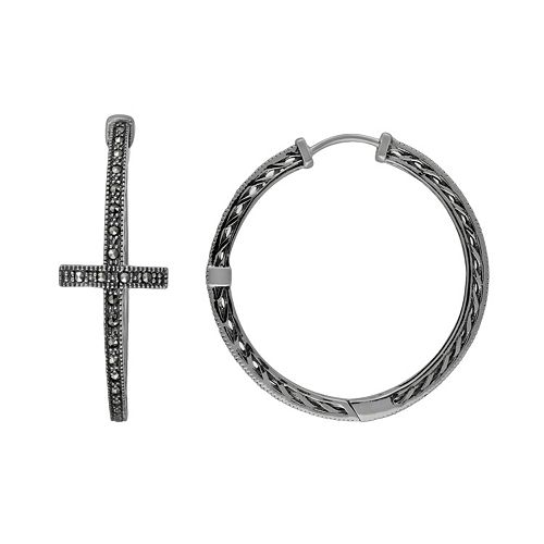 Lavish by TJM Sterling Silver Cross Hoop Earrings - Made with Swarovski Marcasite