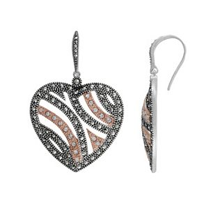 Lavish by TJM 14k Rose Gold Over Silver and Sterling Silver Crystal Heart Earrings - Made with Swarovski Marcasite